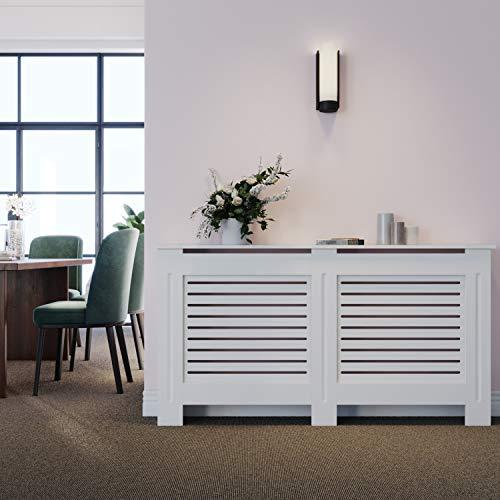 ELEGANT Radiator Cover Horizontal Slat Radiator Shelve White Painted Modern MDF Cabinet for Living Room Bedroom, Large