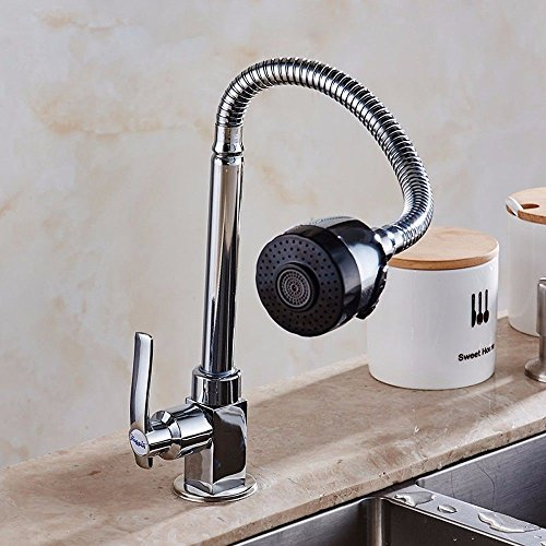 Check Out This Modern Kitchen Faucet Solid Brass Sprayer Kitchen Mixer Taps Chrome basin single cold...