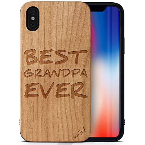 CaseYard Wood Phone case for iPhone X Laser Engraved Best Grandpa Ever Design Cherry Wood Compatible iPhone case Protective Shockproof Slim fit Cell Phone Cover for Men & Women