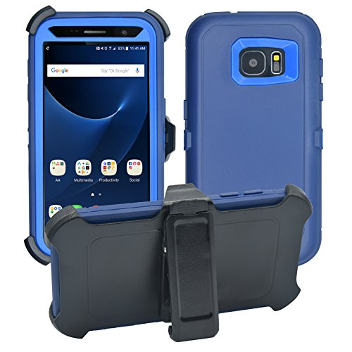 Samsung Galaxy S7 Cover   2-in-1 Screen Protector & Holster Case   Full Body Military Grade Edge-to-Edge Protection with carrying belt clip  Drop Proof Shockproof Dustproof   Navy Blue / Blue