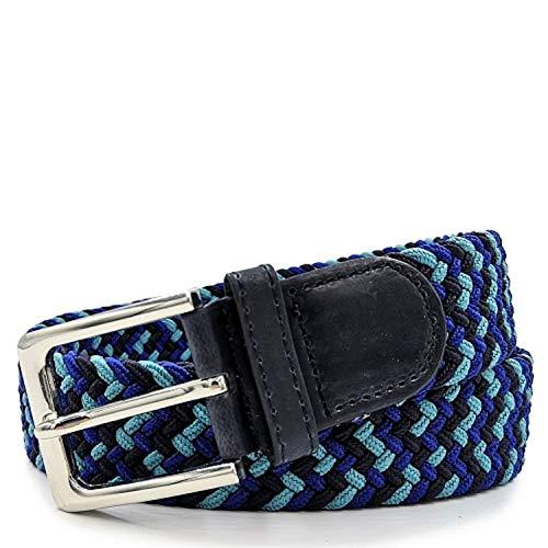 Gloop - Cinturón elástico unisex de tela trenzada, para hombre y mujer, ancho aprox. 3,5 cm, tamaño 105 cm, 110 cm, 115 cm, 120 cm, 130 cm, 135 cm, 140 cm, 145 cm, 150 cm, 155 cm Blaublaublau 120 cm