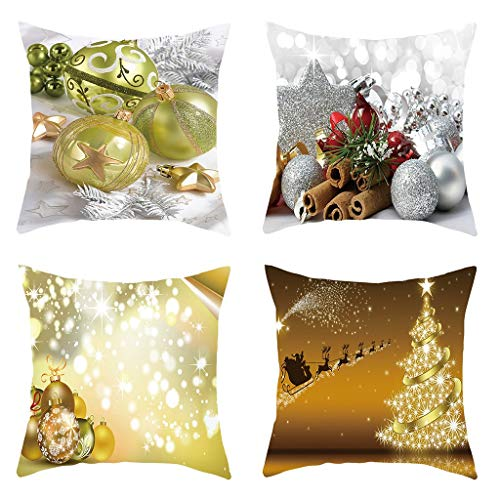 Winsummer Set of 4 Christmas Throw Pillow Covers 18x18 4 Packs Decorative Cushion Cases Xmas Winter New Year Holiday Decore Pillowcase Outdoor for Couch Sofa Green & Red Snowman Santa