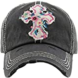 Women's Floral Cross Distressed Vintage Baseball Hat Cap (Black)