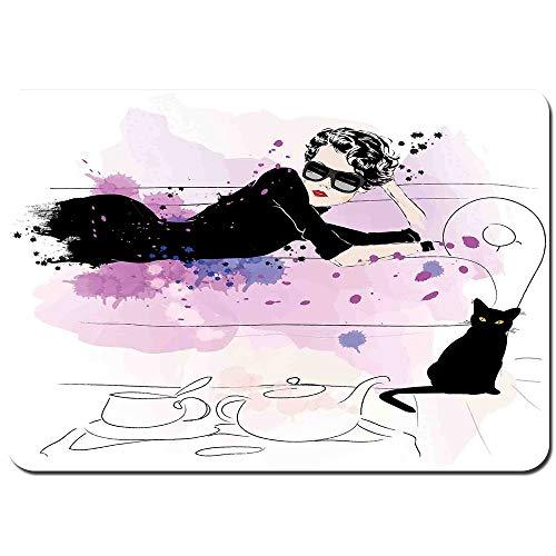 Wdoci Antideslizante Alfombra De Baño,Chica con Gafas de Sol Tumbado en el sofá Gato en el Tema del hogar con Manchas de Animales,Alfombra de Cocina Alfombra Mascota,Alfombras de Ducha 80x60cm