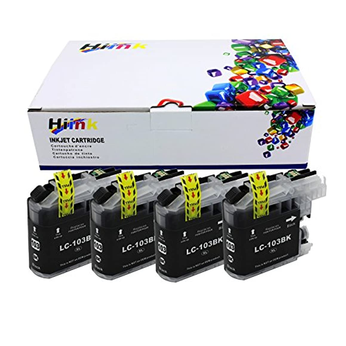 HIINK LC103XL Ink Cartridge Replacement for Brother LC-103 MFC-J245 MFC-J285DW MFC-J450DW MFC-J475DW MFC-J650DW MFC-J870DW MFC-J875DW Printer, Pack of 4 - Black