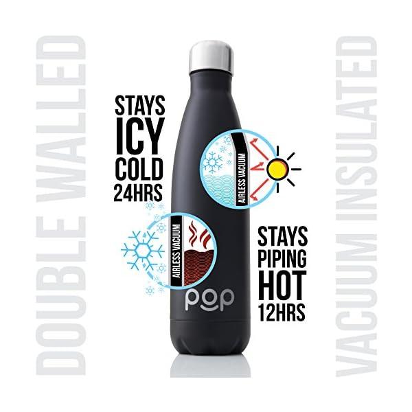 POP Design Botella de Agua, Mantiene Bebidas frías por 24h y Calientes por 12h, Acero Inoxidable con Aislamiento en…