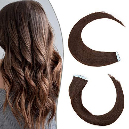Elailite Extension Adesive Capelli Veri Biadesivo 40 Fasce Biadesive Remy Human Hair Umani Tape Extensions Super Invisibile 60g/Set, 35cm #4 Marrone Cioccolato