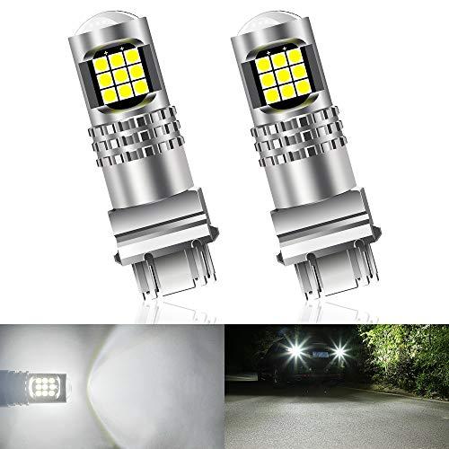 Teguangmei 3157 3156 3057 T25 Bombilla LED de Alta Potencia 3030 24SMD Lente 6000K Blanco Super Brillante,Usada para Freno de Coche Luz de Marcha Atrás Bombilla de Luz Trasera 12-16V(Paquete de 2)