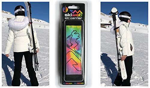 Skiweb Porte-Skis Arc-en-Ciel - Porte-Épaules Porte Skis pour Transport des Skis et des Pôles
