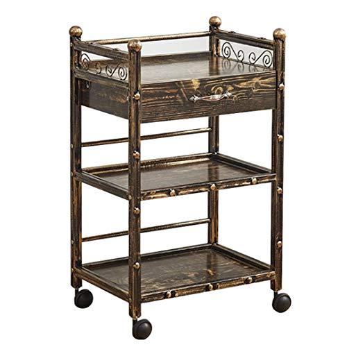 Leilims Carro de servicio con cajones, carrito de almacenamiento móvil, 3 estantes en estilo industrial vintage, carrito de almacenamiento con ruedas