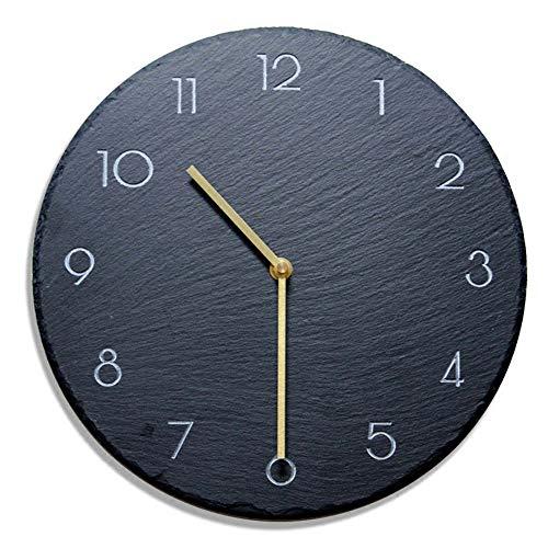 GRENSS - Reloj de pared de pizarra para sala de estar, diseño moderno de roca negra, 30,5 cm, 05., 30,5 cm
