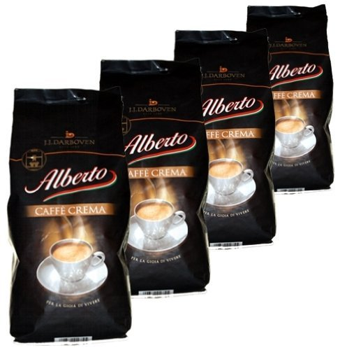 Alberto Kaffee Crema Bohnen, 1kg, 4er Pack (4 x 1 kg)