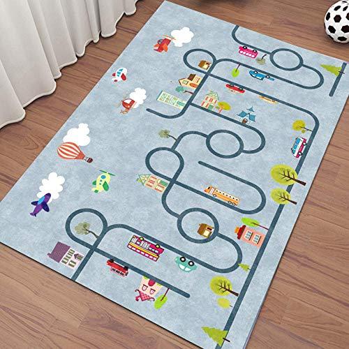 Tapis de Jeu pour Enfant Bébé éducatifs Moquette Anti choc Ramper City Street Blue pour Enfants Chambre Salon Tatami Chambre De Sol Tapis 1.1×1.6M