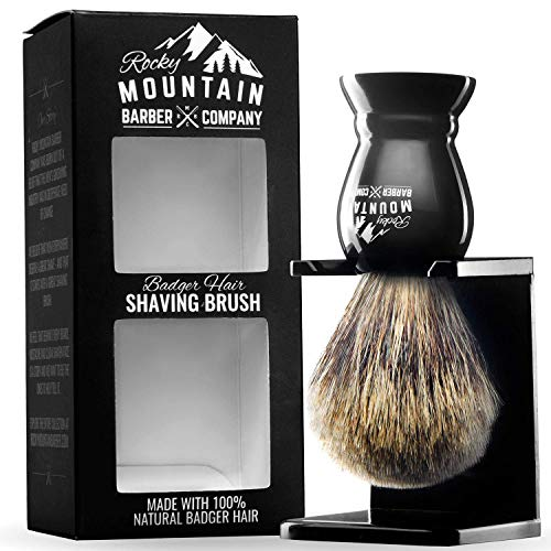 Shaving Brush with Stand - Rocky Mountain Barber Pure 100% Best Badger Hair Barber Grade with Black Heavy Duty All-Resin Handle and Oversized Bristle Head For Better Shaving Cream Lather