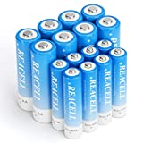REACELL High Drain AA and AAA Batteries, 1.2V NiMH Rechargeable Batteries Combo, 8 Pack 2800mAh AA and 8pcs 1100mAH AAA Rechargeable Batteries