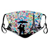 Comfortable Windproof mask,Silhouette of a Loving Couple Under Umbrella The Eiffel,Printed Facial decorations for adult