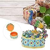 QIRG Joyero de Pavo Real, decoración de aleación de Zine, joyero con bisagras, Caja con bisagras de Pavo Real para el hogar, la Oficina