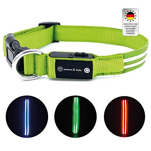 emma & balu Collar para perros | luminoso con hasta 300 m de visibilidad en la oscuridad, collar LED, collar luminoso, luz para perros, recargable con USB, para perros pequeños y grandes (verde, M)