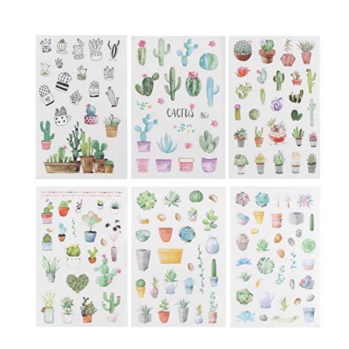 NUOBESTY 6 hojas de pegatinas suculentas de dibujos animados adorables y lindas plantas corporales pegatinas decorativas para niños y niñas