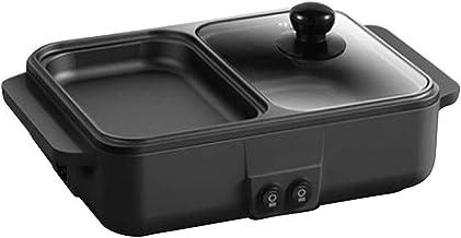 Rookloze Binnengrill 1200W Elektrische Grillplaat, Non-stick BBQ Grillplaat En Hete Pot Met Gehard Glas Geventileerd Dekse...