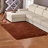 RENJUN - Alfombra de pelo de seda para salón, dormitorio, sala de café, ventana, sofá, cama, cabecero de cama, alfombra. Alfombra, café, 0.63*1.6 M