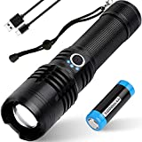 USB Rechargeable Led Flashlights High Lumens, 10000 Lumens Powerful Tactical Flashlight, Super Bright Flashlights with 26650 Batteries, Zoomable, 5 Modes Lighting Flashlight for Emergencies, Camping