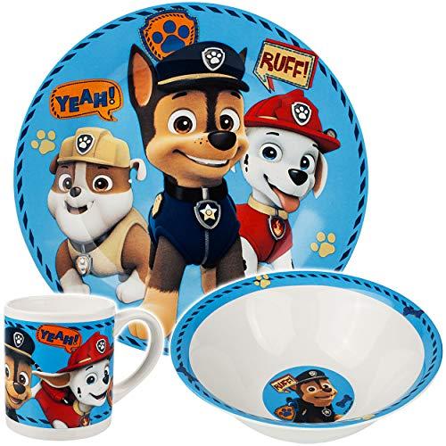 alles-meine.de GmbH 3 TLG. Geschirrset - Porzellan / Keramik - Paw Patrol - Hunde - Trinktasse + Teller + Müslischale - Kindergeschirr - Frühstücksset für Kinder - Jungen Mädchen..