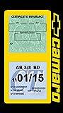 Générique Étui Vignette Assurance Voiture Américaine Compatible avec Camaro Chevrolet Double Pochette Motif adhésif Stickers Auto rétro (Jaune)