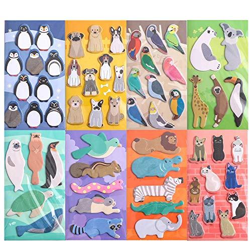 TAFLYミニ付箋可愛い鳥ペンギン犬猫動物伝言メモ便利付せん文房具手帳付箋紙 8冊