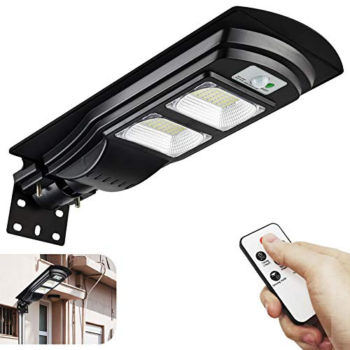 Solar Street Light 4000LM Dusk to Dawn Outdoor Lighting Solar Powered Outdoor Lights with Motion Sensor and Remote Control JSIEEM…