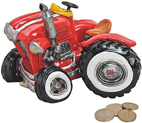 matches21 spaarpot tractor/sleepper/tracker/buldog rood spaarvarken van polyhars 1 stuk 16x11x12 cm