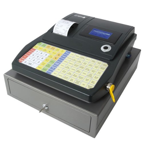 Olympia CM 941 F Kasse (mit Bondrucker, für Gastronomie, Einzelhandel, Friseur, Abschließbare Registrierkasse mit SD Karte und USB, Kassensystem mit Kassenschublade und programmierbarer Tastatur)