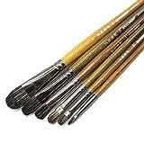 Eval 6Pcs/Set Professional Weasel Hair Filbert Artist Brushes Painting Brush Art Supplies for Acrylic Oil Painting Art Brush Gouache Paint