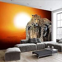 Djskhf 新しいカスタムキャンバスアートビッグタイガータイガー動物ウォールステッカーヒョウ壁紙壁画リビングルーム寝室の装飾 360X250Cm