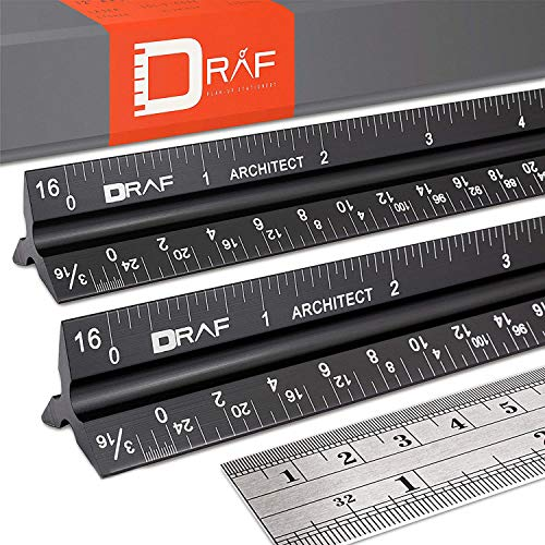 Draf 12-inch architectural scale imperial ruler set - laser-etched...