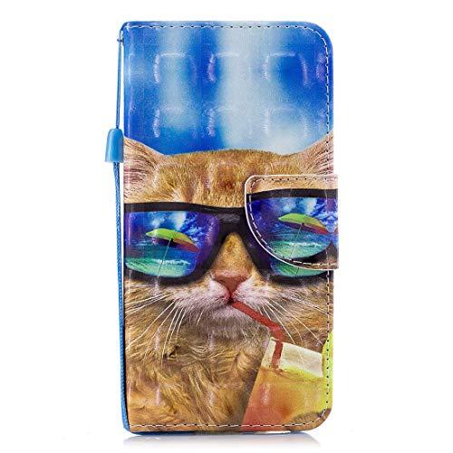 Gelusuk Galaxy S7 Leder Hülle,Samsung Galaxy S7 Handyhülle,Ultra Dünn PU Leder Flip Folio Etui Schale Book Hülle Magnet Kartenfächer Standfunktion Schutzhülle-Brille Katze