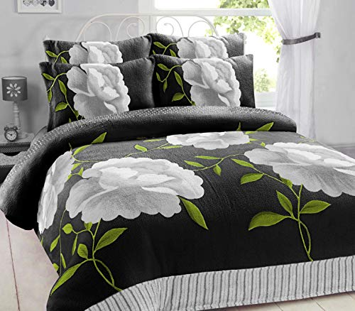 Artistic Fashionista* NEW Soft Warm & Cosy Teddy Bear Fleece ROSALEEN FLORAL Duvet Quilt Cover Pillowcases Bedding Set (Black Silver, Double)