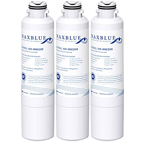 Maxblue DA29-00020B Refrigerator Water Filter, Replacement for Samsung HAF-CIN/EXP, DA29-00020A/B, DA97-08006A, RF28HMEDBSR, RF4287HARS, RF263TEAESG, RH22H9010SR, 3 Filters