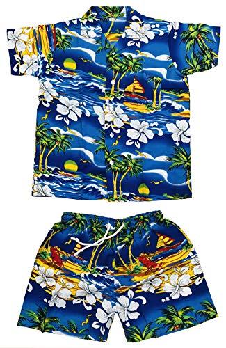 CLUB CUBANA Conjunto de camisas y pantalones cortos hawaianos de manga corta para niños y niñas