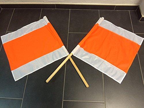 2 STÜCK WARNFAHNE FLAGGE WARNFLAGGE WINTERFAHNE FAHNE ORANGE/WEISS 500x500MM MIT STIEL