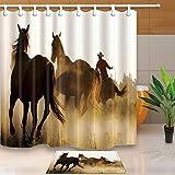 vrupi Western-Duschvorhänge Cowboy Reiten, Pferde, 180,3 x 180,3 cm, schimmelresistent, Polyester-Gewebe Duschvorhang-Set mit 39,7 x 59,6 cm Flanell-Fußmatte Badteppich