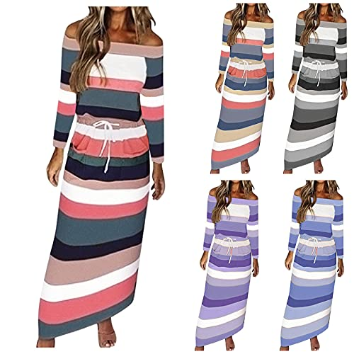 Women Long Cape Sleeve Halter top Dress Chiffon Ribbed Flutter Sleeve Halter Autumn Fall Bohemia Loose Comfortable Casual Business Plus Size Dress for Women Roller Skating Nursing(Pink,XX-Large)