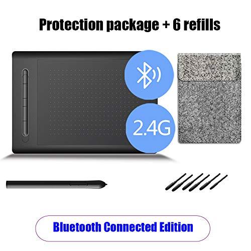 8STR9ds Tableta Gráfica Inalámbrica con Batería-Libre De La Aguja Y 8192 del Sensor De Presión, Tablero De Escritura con 5 Teclas De Acceso Directo Independientes,Bluetooth + Protection Package