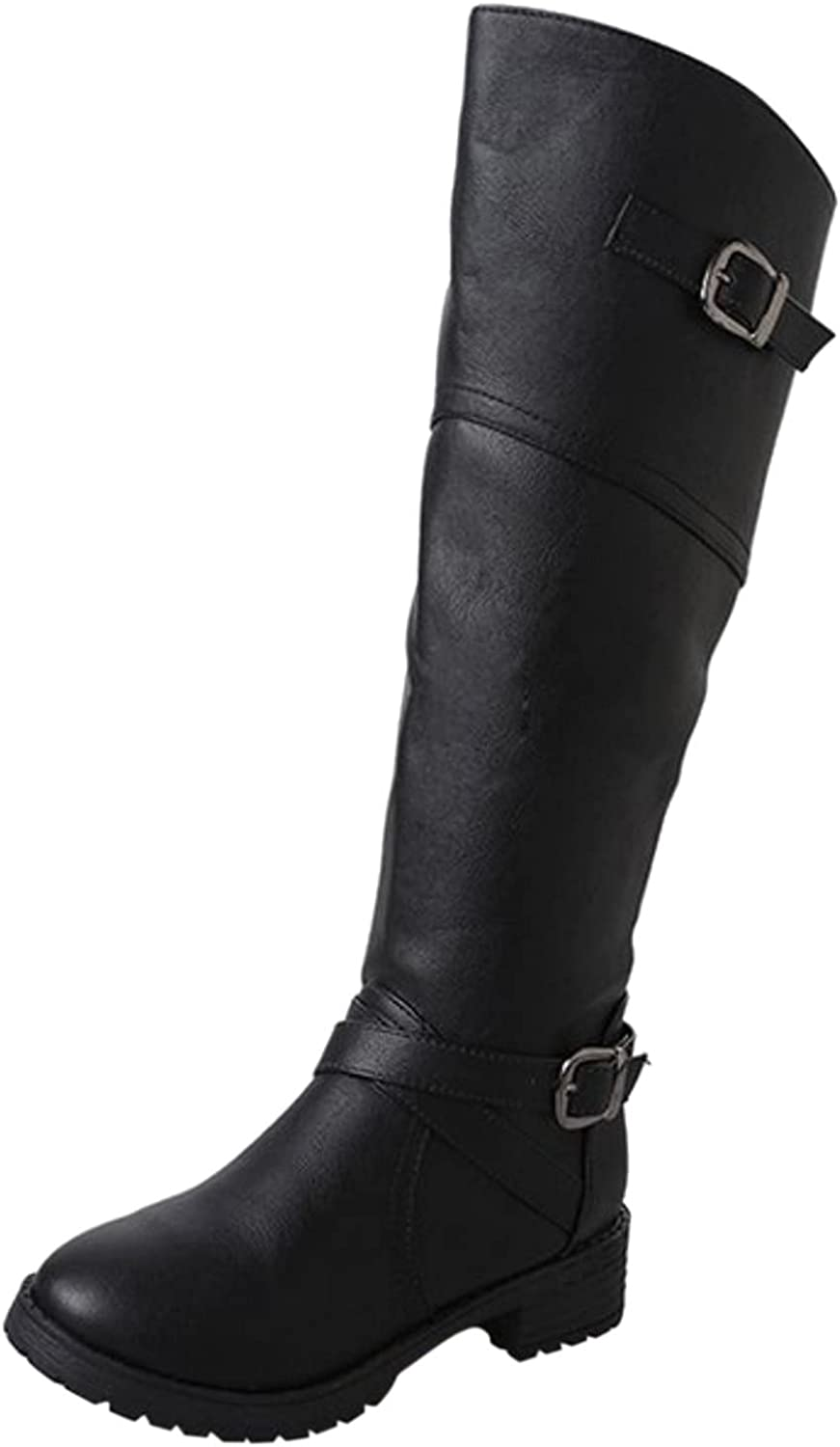 Boots For Women Leather Boots High Heel Mid-heel Retro Buckle Rider Boots Long Boots Shoes