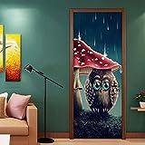 QHOXAI Etiqueta Engomada De La Puerta 3D Búho De Setas De Dibujos Animados Papel Pintado Fotográfico Sala De Estar Dormitorio De Los Niños Decoración Para El Hogar Calcomanía Art Poster Murales 77X200