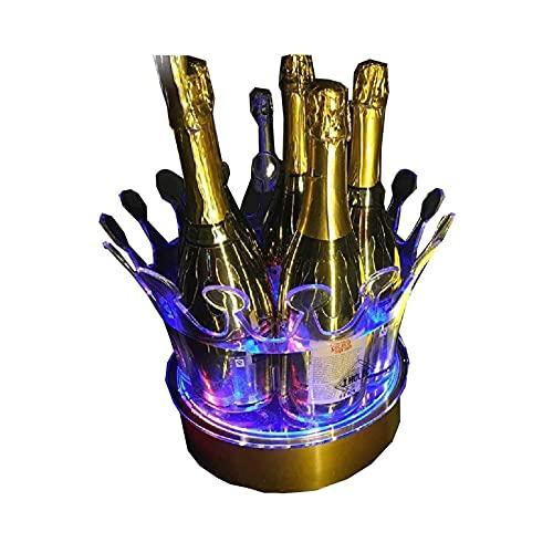 LIQIONG Cubeta de Hielo DIRIGIÓ Cubo de Hielo Coloreable Color Cambiante Cambio de Vino Cooler Crown Champagne Wine Holder Bebidas Beer Wine Rack Bar/Boda/Home Party 26.5x27 cm/Azul