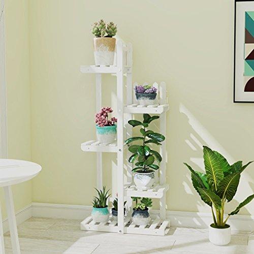 Yxsd Support à Fleurs étagère de Rangement pour Balcon en Bois Massif, intérieur et extérieur, 50x20x115cm (Color : White)