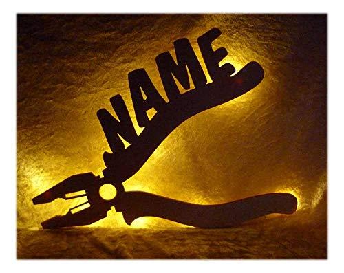 Preisvergleich Produktbild Schlummerlicht24 3d Led Zange Lampe Nachtlicht Werkzeuge lustige witzige Männer-Geschenke mit Namen,  für Handwerker Deko-Lampe Werkstatt Büro Arbeits-Zimmer Maler Auto-Mechaniker Namens-Geschenk