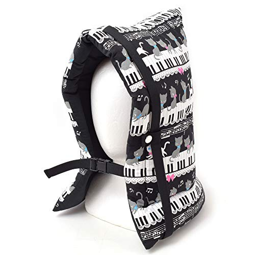 防災頭巾 子供用 ピアノの上で踊る黒猫ワルツ(ブラック) N4416500