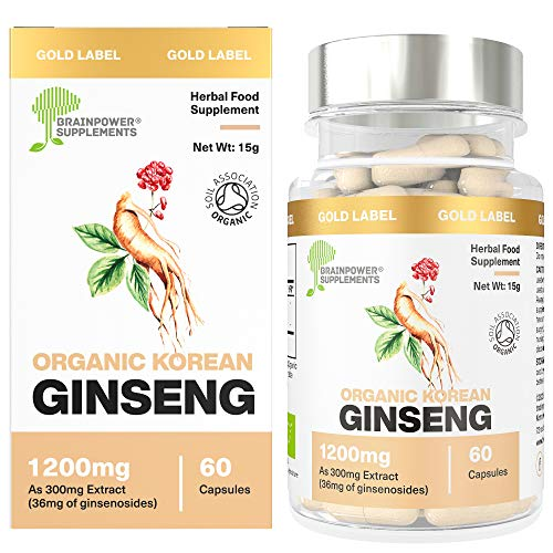 Organic Korean (Panax) Ginseng 300mg Root Extract | 1200mg Whole Herb Equivalent (4:1 Extract) | 12% Ginsenosides | 60 Capsules | 30 Servings | No Inorganic Fillers | GF + Vegan